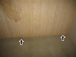 Basement water damage stains