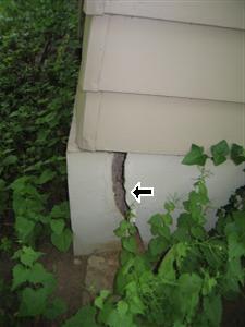 Exterior crack