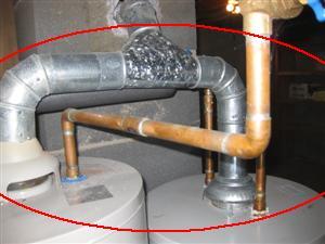 hot water heater improper exhaust