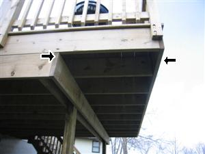 deck overhang too large